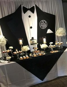 Black tie party decoration in 2019 birthday party, blac 60th Birthday Party, Man Birthday, Birthday Party Decorations, Wedding Decorations, Table Decorations, Black Party Decorations, Birthday Centerpieces, Birthday Backdrop, Decoration Party