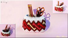 How to make 3d origami pen holder 28 - YouTube