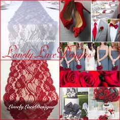 Grey/Silver/Red Lace Table Runners! WEDDING decor ideas!