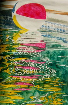 """adrift on a wave (devon's / pool n ball series ) 22"""" x 16"""" micheal zarowsky / watercolour on arches paper / (private collection)"""