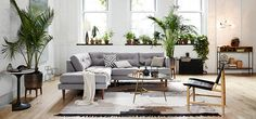 LIVING ROOM ARRANGEMENT Like the sofa and the overall colour palette // westelm