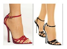 Fredericks of Hollywood Sexy Soirée Sandals Hot RED Black Leather Strappy 12016 #FredericksofHollywood #PumpsClassics