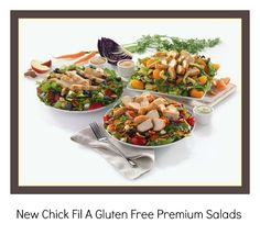 New Chick Fil A Premium Salads with gluten free dressings! Click to check them out at my blog www.GlutenFreeGuideHQ.com #glutenfree