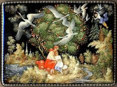 """Сказка """"Гуси-лебеди"""" http:russkaja-skazka.rugusi-lebedi Девочка с братцем опять побежала. А гуси-лебеди воротились, летят навстречу, вот-вот увидят. Что делать? Беда! Стоит яблоня… — Яблоня, матушка, спрячь меня!"""