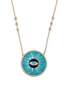 Want more affordable jewelry? Gigi Hadid's Jewelry Style could be for you - Get Gigi Hadid's jewelry style: Jacquie Aiche Pave Turquoise Inlay Eye Necklace - Earring Trends, Jewelry Trends, Jewelry Accessories, Gold Jewelry, Gigi Hadid, Turquoise Eyes, Celebrity Jewelry, Evil Eye Pendant, Holiday Jewelry