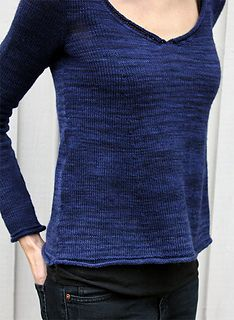 Relaxation is an A-line sweater with a deep V-neck, nice drape, slim sleeves, and rolled hems.