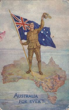 Flag of Australia in World War I. Australian Vintage, Australian Flags, Ww1 Posters, Anzac Day, Remembrance Day, World War One, Vintage Travel Posters, Military History, Women's History