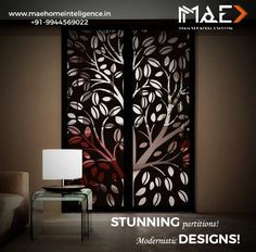 Get rid of boring partitions!! Your plain walls can now be replaced with more attractive designer crafting.Turn your dream home into modern home with stunning steel crafting. Get yours done with www.maehomeintelligence.in. Email us to marketing@maehomeintelligence.in #Partition #Crafting #DesignerCrafting #SteelCrafting #Hotel #Lobby #Bedroom #Home #ModernHome #LivingRoom #DiningHall #Office #Reception #GetRidOfPlainWalls #MAEHomeIntelligence #HomeAutomation #SecuritySolutions