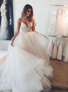 Charming Wedding Gown,Stunning V-neck Wedding Dress,Sleeveless Sweep Train Ivory Wedding Dress with Beading Waist ,Plus Size Wedding Dresses,Wedding Dresses,SVD56