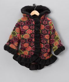 Another cute one! Charcoal Granny Afghan Anne-Marie Coat - Girls by Corky & Company on #zulily today! #zulily and #fall