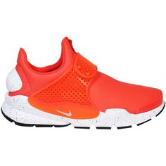 Orange Sock Dart Sneakers ($170) ❤ liked on Polyvore featuring shoes, sneakers, orange, womenshoessneakers, nike sneakers, nike, nike trainers, nike footwear and orange sneakers