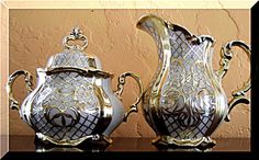 Well, THIS is totally ONE of a Kind!! Tea & Coffee Set Gold plate over 1000/1000 Silver China 7 pc F. Deusch Germany from 1920