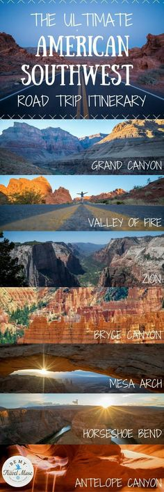 The ultimate road trip itinerary through America's Southwest with stops at national parks and monuments throughout Nevada, Utah and Arizona including the Grand Canyon, Horseshoe Bend, Zion, Antelope Canyon & more! USA travel bucket list destinations. Hiking, backpacking tips. || Be My Travel Muse #roadtripbucketlistsusa #backpackingutah #ParkUsaroadtrips
