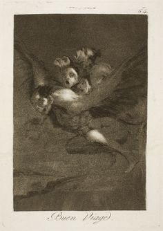 "Francisco de Goya: ""Buen Viage"". Serie ""Los caprichos"" [64]. Etching, aquatint and burin on paper, 215 x 151 mm, 1797-99. Museo Nacional del Prado, Madrid, Spain"