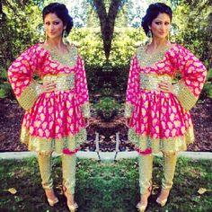 Sameera Nasiry Afghan singer showing off her beautiful pink formal Afghan dress Afghan Clothes Afghan Dresses Afghan Jewelry