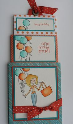 Tote-ally Tess in a 3-layer pullout card. Watercolor technique. Cute how the balloons keep going up the card layers