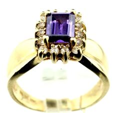 14k Yellow Gold Amethyst 0.40ct Diamond Cocktail Ring Size 6.75, 4.8g B4. #Unbranded #Cocktail