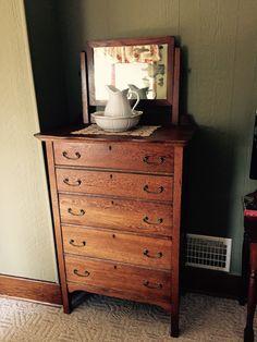 Antique oak high boy dresser.