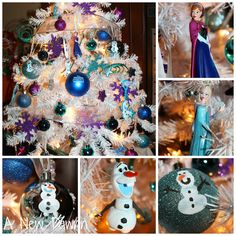 Disney's Frozen themed Christmas tree with handmade ornaments included. Have kids make Olaf's body w/their finger prints. I know a certain little girl who would love this! Frozen Christmas Tree, Christmas Trees For Kids, Christmas Tree Themes, Disney Christmas, Christmas Tree Decorations, Holiday Fun, Christmas Holidays, Christmas Crafts, Frozen Decorations