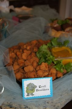 """Frozen birthday party food--""""Troll Boulders"""" chicken nuggets"""