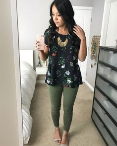 Great green tones with gold. Love the subtle peplum top and green skinnies.