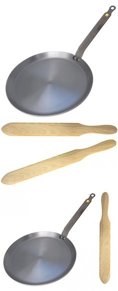 De Buyer Mineral B Element Iron Crepe Pan Bundle with De Buyer Beechwood Spatula (9.4 Inch Pan)