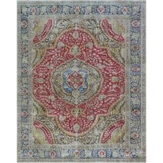 Vintage Distressed Overdyed Enit Red/Blue Rug (8'2 x 10'10) - Free Shipping Today - Overstock.com - 24296392