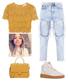 """Tried🙈 #onecolor"" by brooklynqueen04 ❤ liked on Polyvore featuring Miguelina and NIKE"