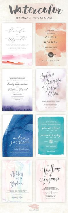 Gorgeous selection of modern watercolor wedding invitations
