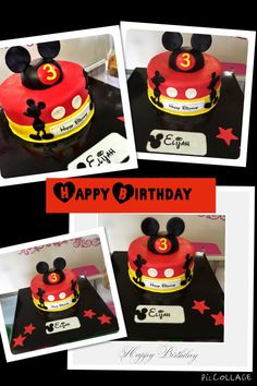 Mickey Mouse Cake  www.leileiscuisine.com Mickey Mouse Cake, Birthday Cake, Eat, Desserts, Food, Kitchens, Tailgate Desserts, Deserts, Birthday Cakes