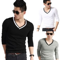 Sweater with Color Collar Chinese Collar, Shoulder Sleeve, Army Green, Korea, Mens Sunglasses, V Neck, Slim, Mens Fashion, Long Sleeve