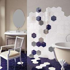 Découvrez la série HEXATILE faïence sol et mur style tomette en pâte blanche colorée