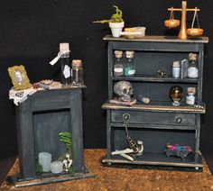 Hey, I found this really awesome Etsy listing at https://www.etsy.com/listing/165155699/2-pc-gothic-witch-spell-hutch-fireplace