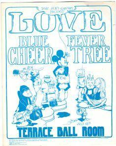 Love, Blue Cheer, Fever Tree @ Terrace Ballroom Salt lake City July 18 1968 (from original handbill) artwork by Brown Cheer Posters, Concert Posters, Blue Cheer, Salt Lake City Utah, Love Blue, No Time For Me, Terrace, Image, Brown