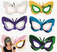 12 Sequined Butterfly Masks, Boxes, Masks & Crowns, Masks - Ready Made, childrens crafts, children's craft supplies