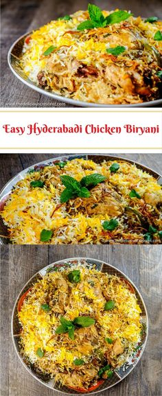 Easy Hyderabadi Chicken Biryani, famous authentic mughlai delicacy with succulent chicken in layers of fluffy rice, fragrant spices and caramelized onions.