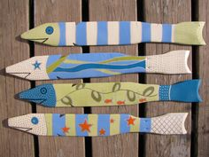School of Four Hand Painted Fish Made From by ArtisticallyGreene, $65.00