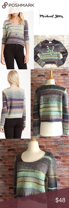 """Michael Stars alpaca blend striped pullover This scoopneck cropped pullover pairs perfectly with the high-waisted denim of the season. In excellent condition. 20""""L. 20.5"""" bust laying flat. 51/25/8 arcrylic, wool, alpaca. Size 1, equates to a size Small. Shown on size 4 dress form. *Jeans pictured are also available in my closet, buy the look and save! Michael Stars Sweaters Crew & Scoop Necks"""
