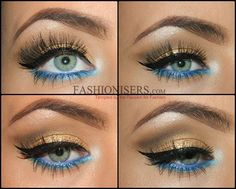 Gold Makeup Tutorial with Blue Under-Eye Liner - Make Up Under Eye Liner, Under Eye Makeup, Blue Eyeliner, Blue Eyeshadow, Gold Makeup, Skin Makeup, Glitter Makeup, Makeup Trends, Makeup Inspo