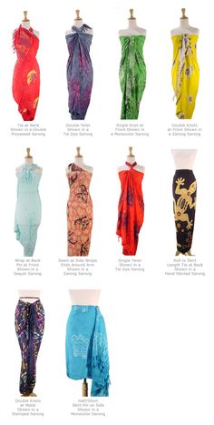 Different types of tying a sarong. =) awesomeness. <3