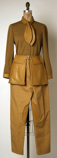Pantsuit (1969) by Bonnie Cashin (American, 1915-2000) made by: Philip Sills & Co. It looks like it is missing a dart on the blouse.