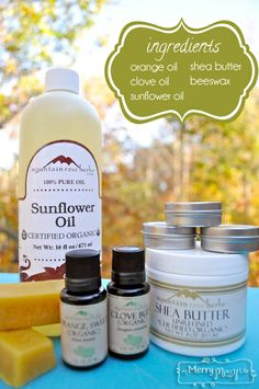 LIP BALM-◾1 tablespoon Organic Shea Butter ◾3 tablespoons Organic Sunflower Oil ◾1 tablespoon + 1 teaspoon Beeswax ◾15 drops organic Sweet Orange essential oil (I would use even more because the scent is barely detectable – 20 – 25 drops or more!)