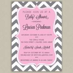 Chevron Printable Baby Shower Invitation with Color Options