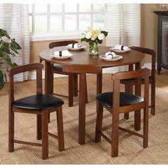 5 Piece Round Dining Table Set Chair Small Apartment Furniture Kitchen Breakfast #5PieceRound