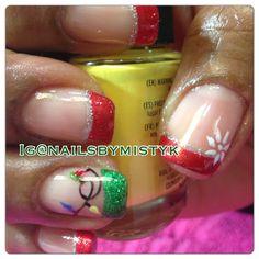 Shellac nail art. Christmas lights nails. French manicure. Glitter. Creative Nail Designs, Creative Nails, Nail Art Designs, Holiday Nails, Christmas Nails, Christmas Lights, Xmas, Christmas Things, Christmas Snowflakes