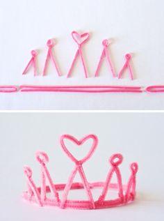 kinder faschingskostüme rosa prinzessin krone basteln pfeifenreiniger
