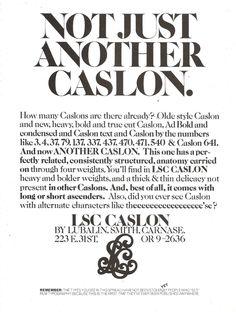 Herb Lubalin, trade ad, including LSC Caslon, 1970s. Via Past Print.