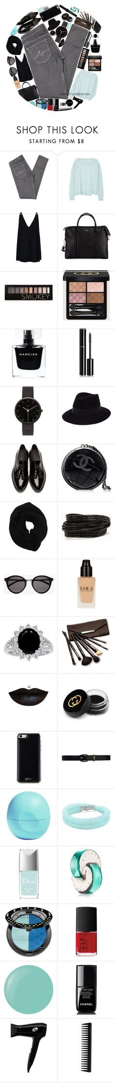 """Black n' blue"" by fangirl-preferences ❤ liked on Polyvore featuring AG Adriano Goldschmied, J Brand, STELLA McCARTNEY, Givenchy, Forever 21, Gucci, Narciso Rodriguez, Chanel, I Love Ugly and Maison Michel"