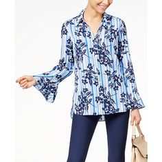 Ny Collection Bell-Sleeve Blouse ($48) ❤ liked on Polyvore featuring tops, blouses, blue linebouquet, ny collection, flared sleeve blouse, bell sleeve tops, blue blouse and blue striped blouse