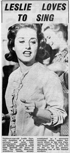 Lesley Gore - UK Newspaper - 1965ish Lesley Gore, Vintage Magazines, Newspaper, Music Artists, Singing, Movies, Journaling File System, Films, Musicians